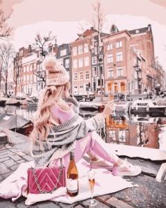 Картины по номерам Дівчина з вином біля каналу