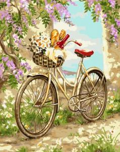 Картины по номерам Велосипед в саду