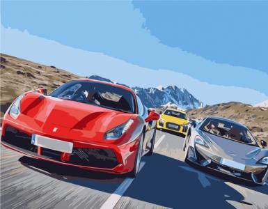 Картины по номерам Перегони на машинах