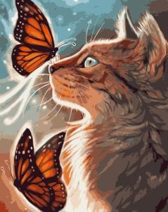 Картины по номерам Кіт з метеликами
