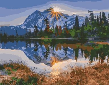Картины по номерам Гори біля озера