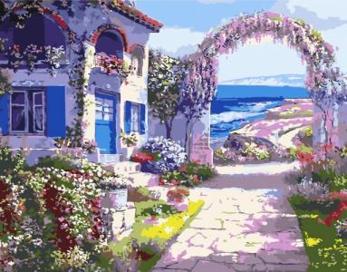 Картины по номерам Будиночок з квітами