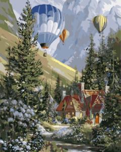 Картины по номерам Повітряні кулі серед лісу