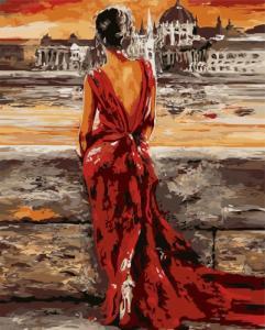 Картины по номерам Жінка у червоному