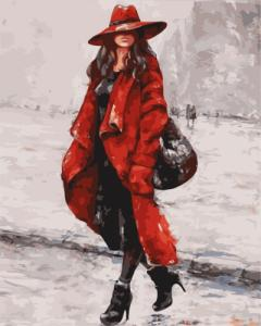 Картины по номерам Жінка у червоному капелюсі
