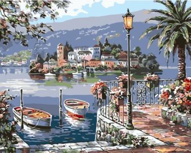 Картины по номерам Пейзаж з човнами