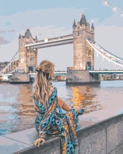 Картины по номерам Девушка на фоне Тауэрского моста