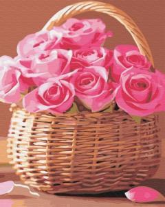 Картины по номерам Корзинка розовых роз