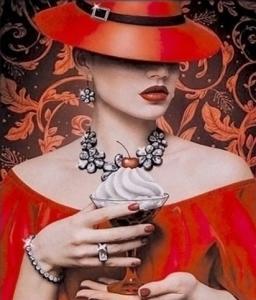 Картины по номерам Женщина в красном