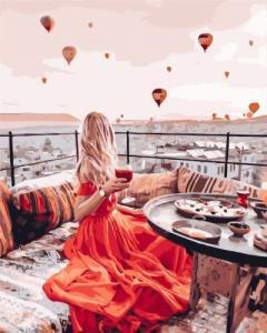 Картины по номерам Девушка в красном в Каппадокии