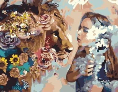 Картины по номерам Девушка и лев
