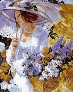 Картины по номерам Девушка в саду хризантем