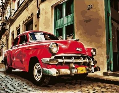 Картины по номерам Красная ретро машина