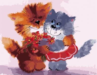 Картины по номерам Дружные котики