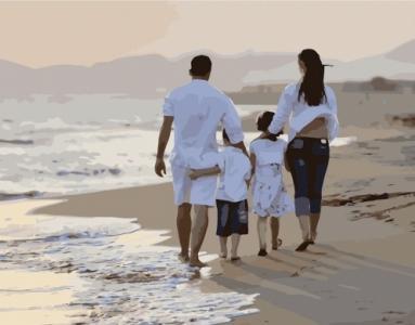 Картины по номерам Семейная прогулка вдоль берега