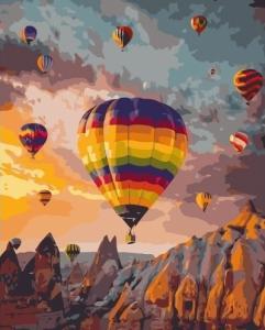 Картины по номерам Цветные воздушные шары среди гор
