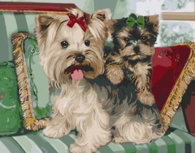 Картины по номерам Терьеры на подушках