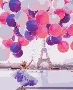 Картины по номерам Девушка с шарами