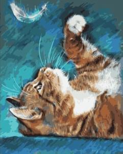 Картины по номерам Кошка с пером