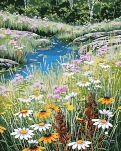 Картины по номерам Ручей в цветочном поле