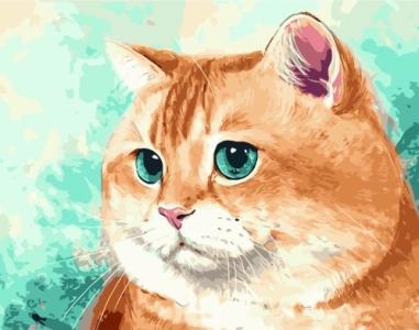 Картины по номерам Рыжий кот с голубыми глазами