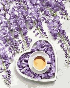 Картины по номерам Кофе. Фиолетовое сердце