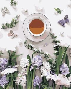 Картины по номерам Кофе и цветы