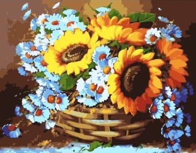 Картины по номерам Корзина цветов