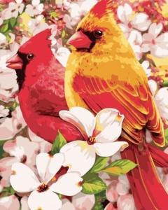Картины по номерам Птицы в цветах