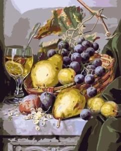 Картины по номерам Натюрморт с грушамии виноградом