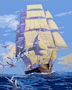 Картины по номерам Корабль с белыми парусами