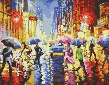 Картины по номерам Дождь на улицах мегаполиса