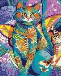 Картины по номерам Кот из цветных мотивов