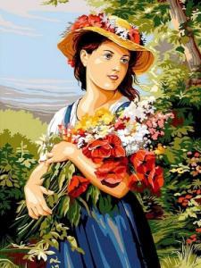 Картины по номерам Девушка с цветами