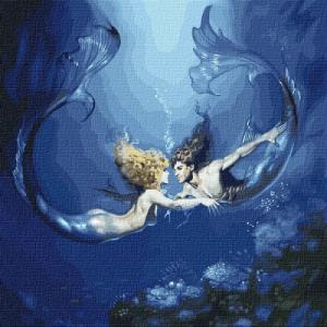 Картины по номерам Подводная любовь с красками металлик