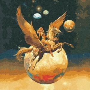 Картины по номерам Завоевательница космоса с красками металлик