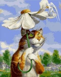 Кот с ромашкой