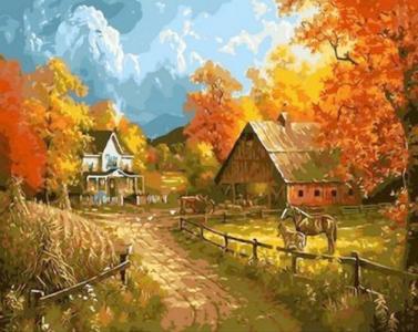Картины по номерам Сельский пейзаж