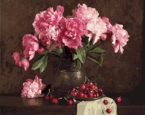 Картины по номерам Пионы и вишни