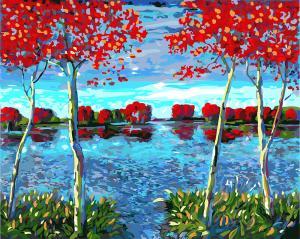 Картины по номерам Осенний пруд