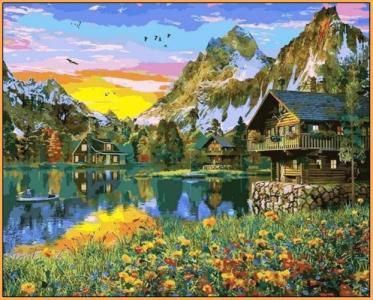 Картины по номерам Деревня у горного озера