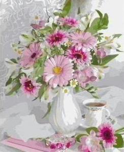 Картины по номерам Букет с розовых герберов