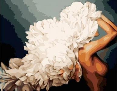 Картины по номерам Девушка и белые пионы