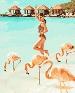 Картины по номерам Очаровательные фламинго