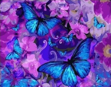 Картины по номерам Магические бабочки в цветах