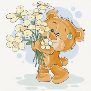 Картины по номерам Медвежонок с цветами