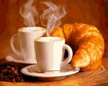 Картины по номерам Кофе с круасаном