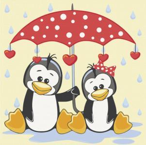Картины по номерам Пингвины под зонтиком