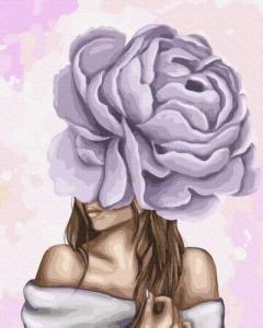 Картины по номерам Дама с фиолетовым пионом