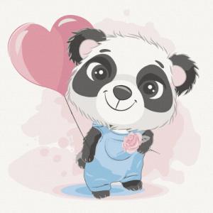 Картины по номерам Панда с шариком